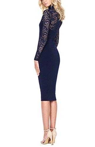 Brinny Haut-cou Manches Longues Sexy Elégante Slim Fit Femme Longue Robe Cocktail Partie Banquet Lace Floral Perspective Noir / Bleu Doncé / Rouge / Blanc Taille: S M L Bleu Foncé