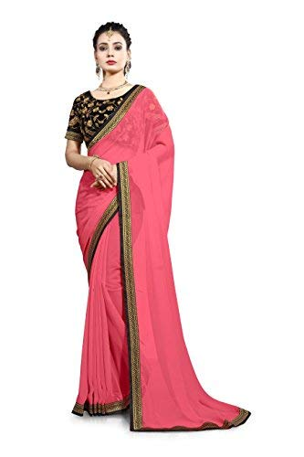 Saree Center Women\'s Georgette Saree (Akshara_Pink_Free Size)