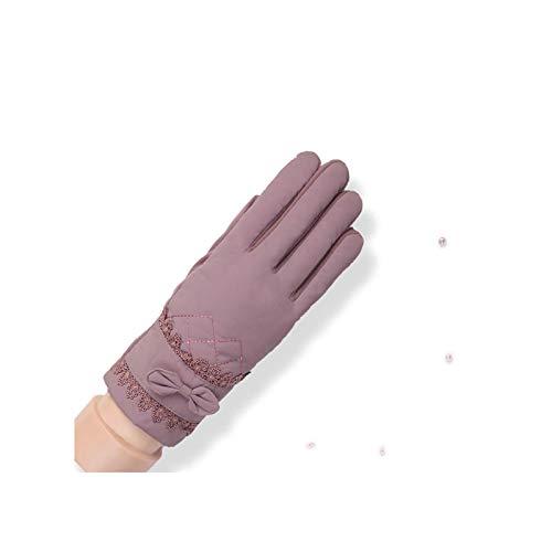 Gnzoe Handschuhe Damen Spitze Schmetterling Knot Handschuhe Warm Wasserdicht Damen Winterhandschuhe One Size Lila