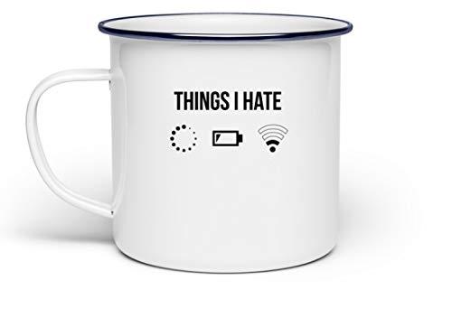 PlimPlom Things I Hate Lustige Programmierer Kaffeetasse Computer Informatiker Geschenkidee - Emaille Tasse (Orca Baby Kostüm)