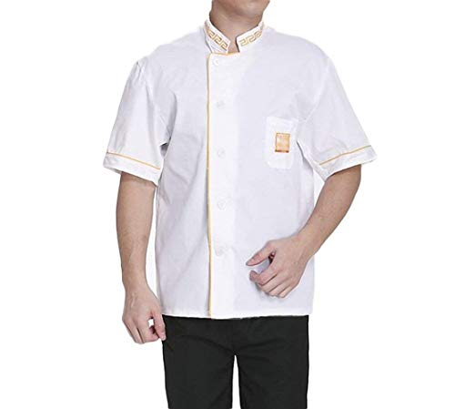 Saoye Fashion Unisex Hotel Uniform Kurzarm Kochjacke Mit Stehkragen Kurzarm Arbeitsjacke Mantel Kleidung Outerwear (Color : Gelb Krempe, Size : 3XL)