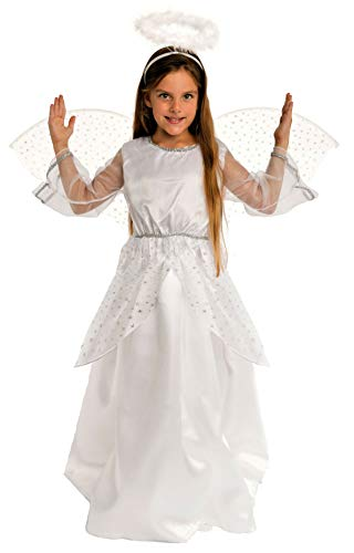 Flügel Kostüm Engel Kinder - Magicoo Engelskostüm Kinder Mädchen inkl. Flügel Silber-weiß - Engel Kostüm Gr. 92 bis 140 (134/140)