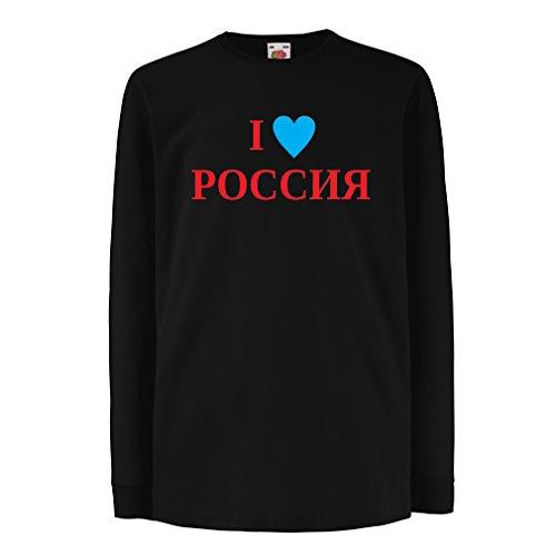 Kinder-T-Shirt mit langen Ärmeln Ich liebe Russland, Moskau, politisch, Россия, Russisch (9-11 years Schwarz Rote) (Halloween-oreos)