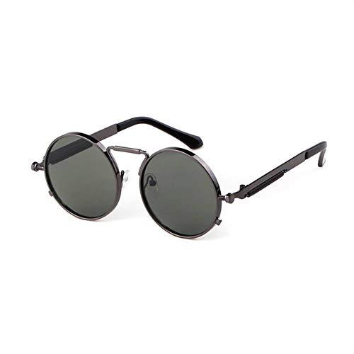 Taiyangcheng Metall Runde Steampunk Sonnenbrille Männer Frauen Mode Brillengestell Sonnenbrille Hohe Qualität,C5 Gun grün