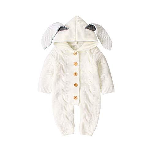 Livoral Neugeborenes Baby Mädchen Jungen Winter Warme Mantel Strick Outwear Kapuzenoverall(C-Weiß,0-6 Monate)