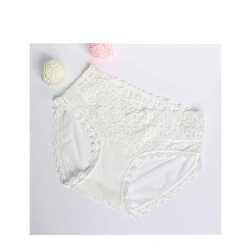 WUJIANCHAO Spitzenhöschen weibliche niedrige Taille sexy hot ultradünne Nahtlose Mesh weiß M (80-100 kg)(3 Stück)