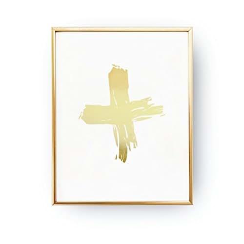 Gold Cross Wall Decor : Real gold foil cross print minimal wall art home decor