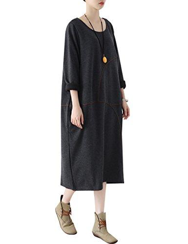 Youlee Donna Collare rotondo Taglia grossa Vestito da Jumper Stile 1