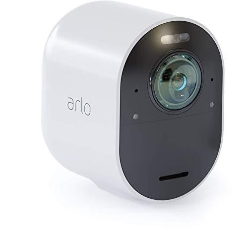 Arlo Ultra Smart Home 4K UHD und HDR Zusatz-Überwachungskamera (Farb-Nachtsicht, 180 Grad Blickwinkel, WLAN, kabellos, Spotlight, wetterfest, HD Audio) weiß, VMC5040, erfordert Ultra SmartHub