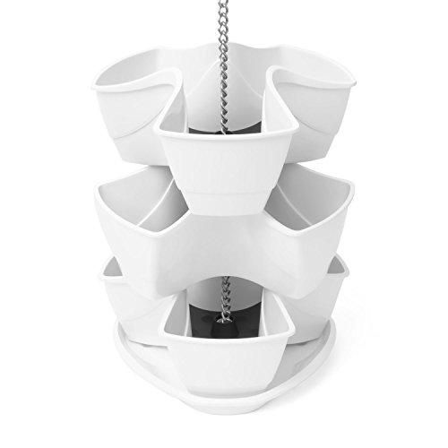 Galleria fotografica Vaso per piante erbe aromatiche COUBI 3 livelli a forma di trifoglio colore: bianco