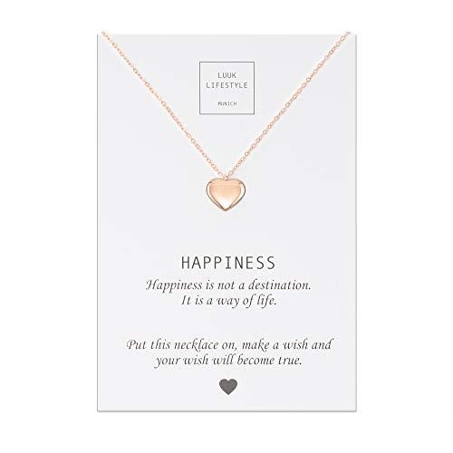 LUUK LIFESTYLE Edelstahl Halskette mit Herz Anhänger und Happiness Spruchkarte, Glücksbringer, Damen Schmuck, rosé