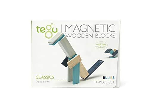 Tegu Magnetisches Holzbausteine - Blautöne - 14 Stück