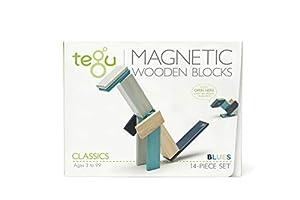 Tegu Juego de Bloques de Construcción de madera magnéticos de 14 piezas - Blues