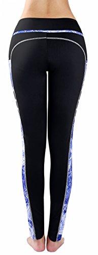 Munvot Femme Pantalon de Sport Collants Fitness Jogging Maigre Entraînement Taille Haute Noir/Bleu