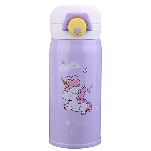 Termo de acero inoxidable con diseño de unicornio para niñas, botella de agua para uso en interiores y exteriores, termo aislante a prueba de fugas para niños