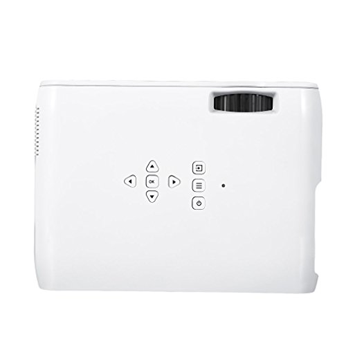 LESHP LED Mini Video Projector  1200 Lumens Home Cinema Projector Support WIFI Bluetooth Miracast Connection for PC Laptop USB TV Box iPad Smartphone with HDMI   TV   VGA   AV   USB   SD Interface 800 480 Resolution  White