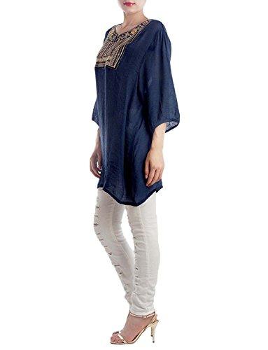 iB-iP Donna Ricamo Di Perline Tibet Sciolto Abito Oversize Mini Top Tunica Blu marino