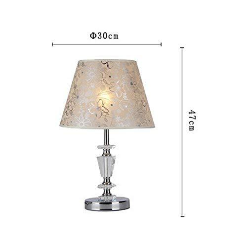 - Chrom-kristall-tisch-lampe (FMEZY Moderne Kristall Tischlampe Mit Stoffschirm Große Deak Lampe Schlafzimmer Wohnzimmer Dekorative Chrom Nachttischlampe E27)