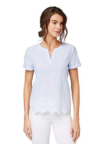 TOM TAILOR für Frauen Blusen, Shirts & Hemden Kurzärmelige Bluse mit Lochstickerei Blue Stripe with Embroidery, 44 -