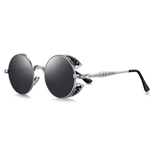 WHCREAT Retro Rund Steampunk Polarisierte Sonnenbrille Geprägtes Muster Brillen Für Herren Damen (Silber Rahmen - Schwarze Linse)