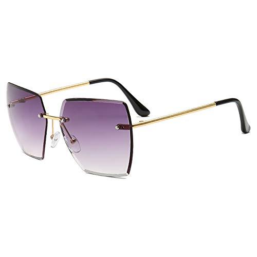 Weifan1 2019 New Sonnenbrille Damen rahmenlose Sonnenbrille Ozean Film Sonnenschirm Spiegel persönlichkeit Platz Sonnenbrille Frauen,Gray