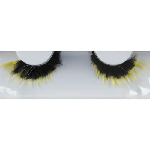 Effet Cils N ° 158, jaune de noir avec plumes blanches
