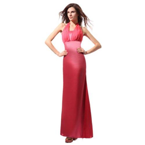 Lemandy robe de soirée fourreau satin longueur cheville incarnadin
