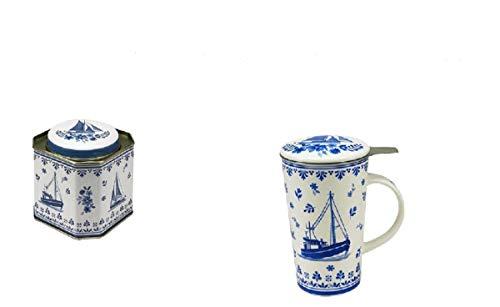 Unbekannt Becher/Dosen Set Auf Hoher See Friesisch Keramik 300ml Thermobecher Teedose Büchse Schiff