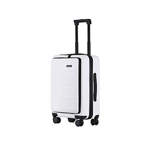 YYLE SNUA Koffer,Business Koffer 18 Zoll Boarding 20 Zoll Unisex Frontöffnung sicher und bequem-White-18in