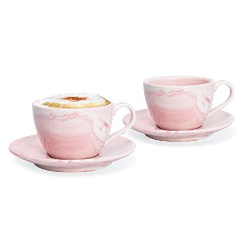 Hausmann & Söhne Cappuccino Tassen dickwandig | Set 4-TLG. | 2er Set Pastell rosa Marmor Tassen mit Untertasse | Porzellan | Tasse 170 ml (210 ml randvoll) | Tassen mit Untersetzer | Geschenkidee -