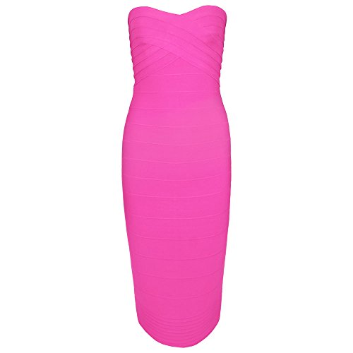 HLBandage Women's Rayon Strapless Knee Length Midi Bodycon Bandage Dress Rose Pétant