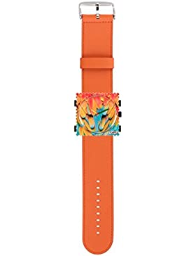 S.T.A.M.P.S. Stamps Uhr KOMPLETT - Zifferblatt Parrots Feather mit Lederarmband classic orange
