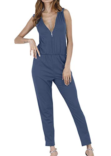 Lang V-Ausschnitt Mit Ärmellos Zipper Sommer Jumpsuit Elegante Fashionable Completi Trendigen Freizeit Bequem Unifarben Overall Playsuit (Color : Royal Blue, Size : S) ()