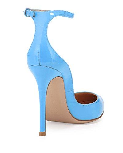 EDEFS - Escarpins Femme - Brillant Coupé Chaussure - Cheville Boucle - Talon Aiguille - Bout pointu fermé Bleu