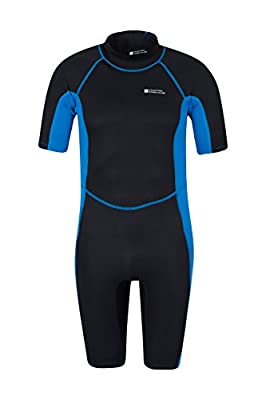 Mountain Warehouse Shorty Mens Wetsuit - Neoprene with Flatlock Seams & Easy Glide Zip - Perfect for Warmer Waters & Watersports Such As Surfing from Mountain Warehouse