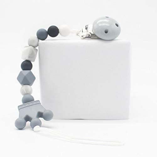 Schnullerkette - BPA frei Silikon-Korn-Beißring Nuckelhalter Pacifier Clip Beißring Pacifier Clip Schnullerkette für Babydecken, grau
