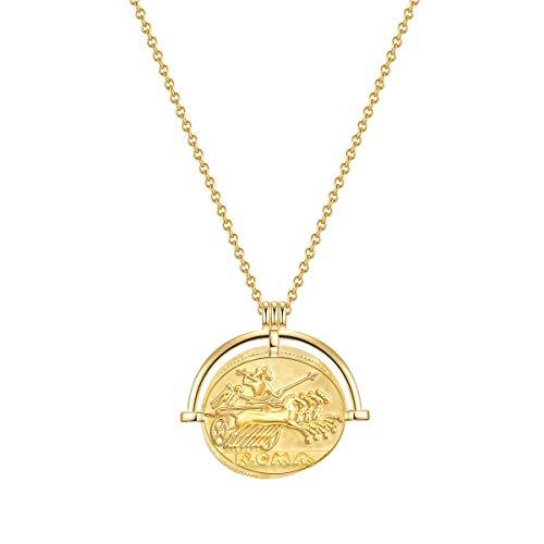 Glanzstücke München Damen-Kette Münze Sterling Silber 925 gelbvergoldet Gladiator - Münzkette für Frauen römisch in Gelbgold-Farben
