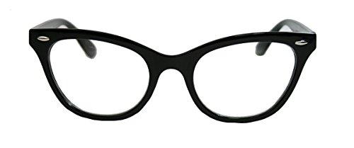 Unbekannt 50er Jahre Damen Brille Cat Eye Nerdbrille Klarglas Katzenaugen Hornbrille schwarz