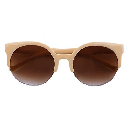 79772c6809f Cheriee Fashion Unisex Classic Round Circle Frame Semi-Rimless Eyewear  Sunglasses 1 Pack