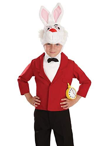 Kinder Jungen Mädchen Weißen Kaninchen Herr Hase Alice im Wunderland Tier Häschen TV Film Comicfigur Büchertag Kostüm Verkleiden Outfit - Weiß, Weiß, 10-12 years