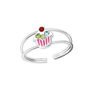 Liara Kinder Cupcake Ring 925 Sterling Silber.Poliert und Nickelfrei