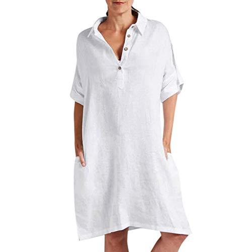 Tutu Tank (TITIU Damen Plus Size Unregelmäßige Mode Lose Leinen Kurzarm Shirt Vintage Bluse Tank Tee Oberteil Top(X4-Weiß,S))