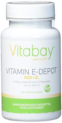Vitamin E 600 DEPOT - D-Alpha Tocopherol Hochdosiert - 300 I.E. pro Tag - Vegane Softgels (100 vegane Softgels) - Die Höhen Werden Lauter