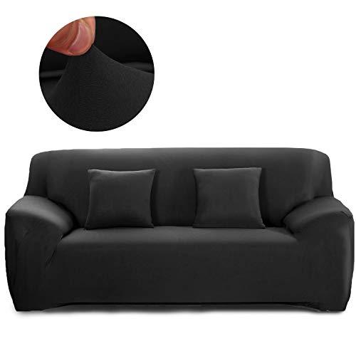 Cornasee copridivano elasticizzato 3 posti,fodera per divano con corda fissa,nero