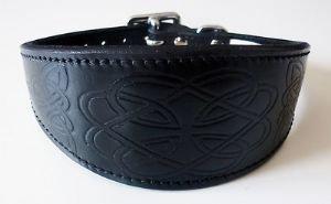 4doggies Collier pour lévrier whippet en cuir estampé noir Motif celtique 35,6 - 43,2 cm