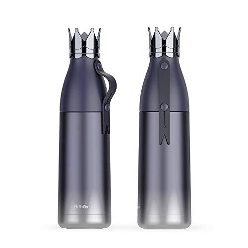 WENSISTAR Edelstahl mattiert Isolierflasche ,Kreative Edelstahlbecher, dreidimensionale Kronenbecher, Schülerhandbecher @ Blue_350ML,leicht und kompakt Water Bottle