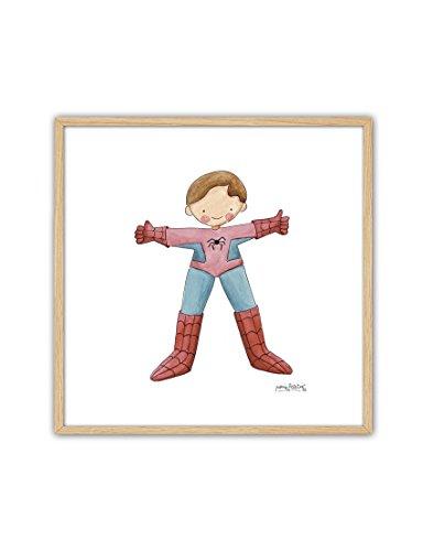 Cuadriman Cuadro Spiderman - Enmarcado Maderna Natural