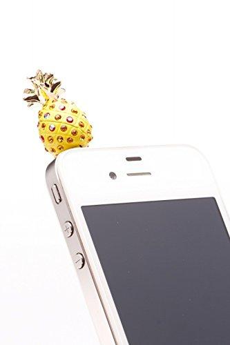 Handy Stecker Stöpsel Staubschutz Handyschmuck Handystöpsel Ananas strass für iPhone Samsung HTC Sony - passend für jeden Kopfhörerausgang (Tmobile Galaxy Handy S3)