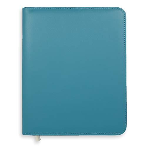 Boxclever Press Essentials - Funda para agenda A5. Cubierta de planner de cuero sintético con cierre de cremallera y bolsillo para papeleo. AZUL MARINO