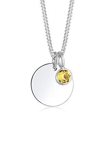 Elli Damen-Kette mit Anhänger Kreis 925 Silber Kristall gelb Rundschliff 45 cm - 0101792617_45